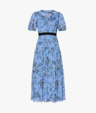 Erdem's Pearline Dress is made from silk voile in the season's Hogarth Vine paisley against a bright blue backdrop.