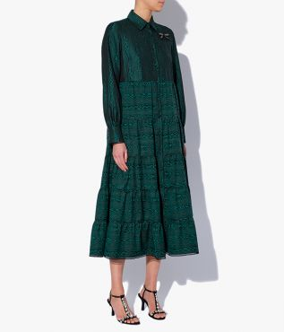 Elegant shirt dress from Erdem with a pointed collar, long sleeves and a tiered skirt.