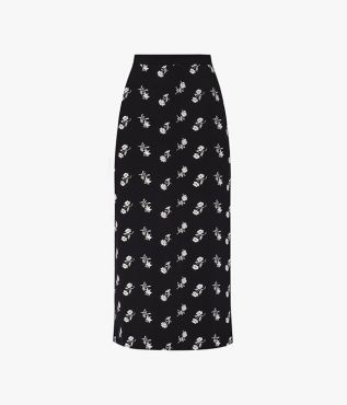 The Maira Skirt is crafted from Ponte jersey, embroidered with contrasting white bouquets.