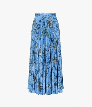 The Nesrine Skirt is crafted from a lightweight blue jersey and sharply pleated.