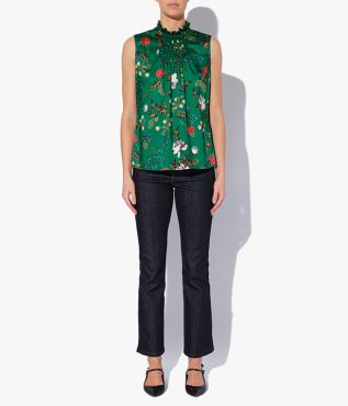Ralph Top in lightweight silk twill, printed with the Carrington Garden green-based floral.