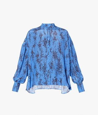 The Kennith Shirt is stamped with this season's graphic Ottoline print in blue and burgundy.