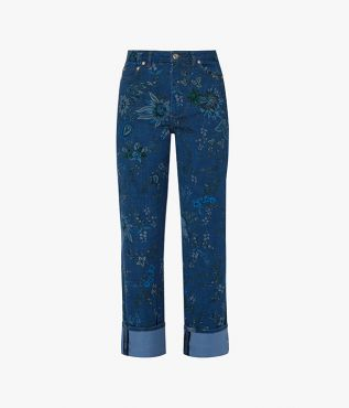 Nathaniel Jeans in mid-blue denim and decorated with this season's Hogarth Vine floral paisley pattern.