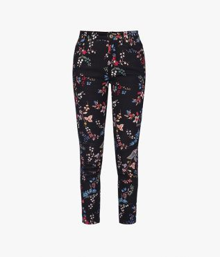 Erdem's Millicent Jeans are made from a black stretch-denim that's stamped with colourful florals.