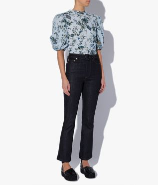 Vina Jeans in indigo blue with perfect, close fit and belted waistband.