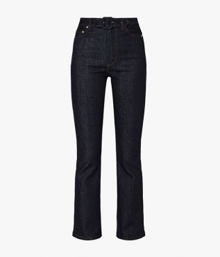 These designer denim jeans come in indigo blue with a belted waist.