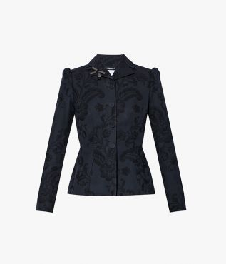 Inspired by Nancy Mitford, the Mansfield Jacket comes in tonal black cotton jacquard.