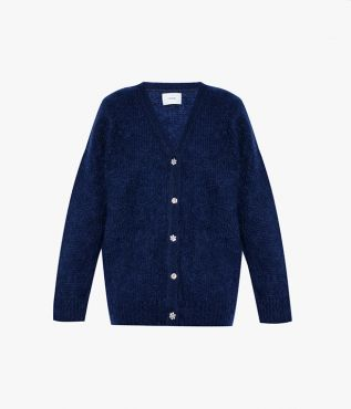Erdem's longline Marcilly cardigan in navy with a textural finish.