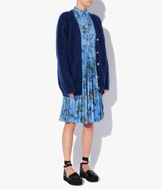 This long navy cardigan has delicate crystal buttons up the front.