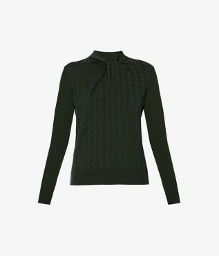 The Rae Jumper is shaped for a fitted silhouette, utilising cable and rib knit techniques for a textural finish.
