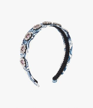 Erdem Cream Beaded Silk Toile de Jouy Headband