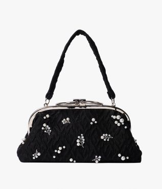 Black Embroidered Handbag Organza Cloque