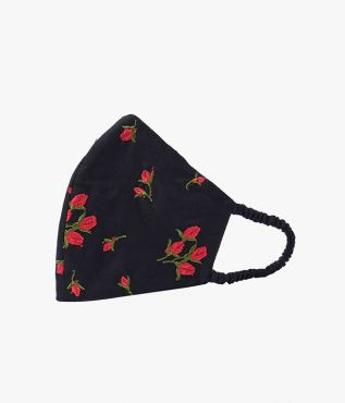 Luxury black face mask with red embroidered flowers, crafted from cotton poplin from overstock fabrics
