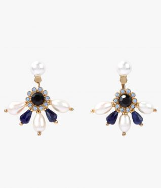 Erdem swing earrings with deep blue crystals and faux pearls.
