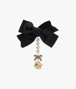 Erdem Black Crystal Bow Brooch
