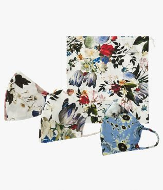Set of 3 luxury face masks from designer ERDEM, also including a beautiful cotton poplin keepsake pouch