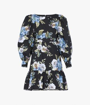 The Rydal dress from ERDEM, featuring a stunning blue and white carnation bouquet print on black cotton poplin.