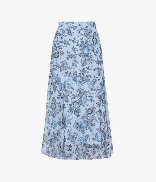 Erdem Shea Skirt Graphic Vine Silk Voile