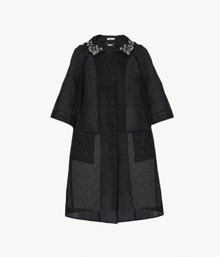 Sorayah Coat Embroidered Organza Cloque