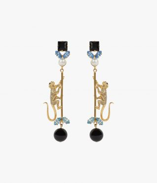 Erdem's Blue Monkey Drop Earrings