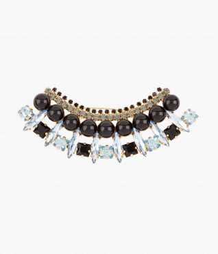Blue Crystal Crescent Hair Barrette by Erdem