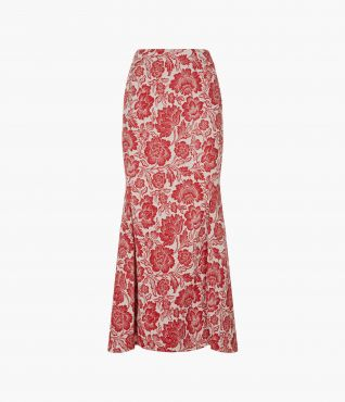 Ivetta Skirt in Red Floral Cotton Jacquard Front