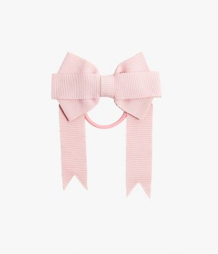 This hair tie made from pale pink grosgrain is fixed to an elasticated band.
