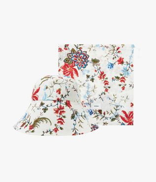 Pure linen hat printed with the season's colourful Cadogan Bloom floral.