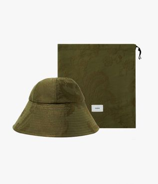 Olive bucket hat crafted from cotton jacquard with all-over floral pattern from Erdem.