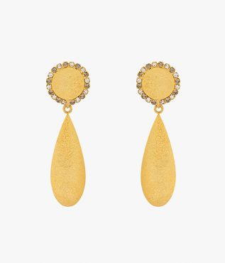 Erdem eye-catching drop earrings in gold with grey crystals.