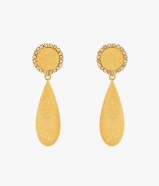 Crafted from gold-tone brass, these teardrop clip-on earrings feature a subtle hammered effect.