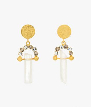 Erdem earrings with hammered brass coins, shimmering crystals and suspended raw cut glass crystals.