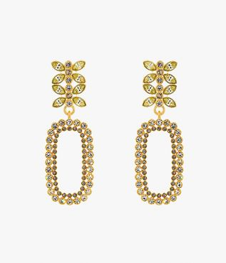 Adorned with an array of grey crystals, these gold-tone earrings have leaf-shaped and round crystals.