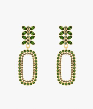 Green Crystal Mini Statement Earrings from Erdem SS21.