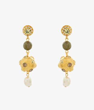 Drop earrings adorned with grey crystals, labradorite stones and glass pearls.