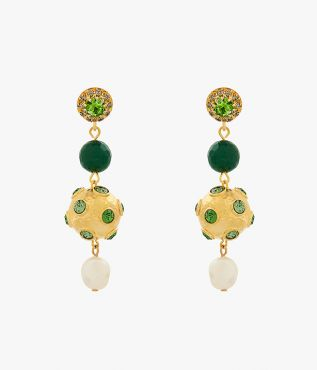 These earrings are embellished with green crystals, green agate stones and glass pearls.