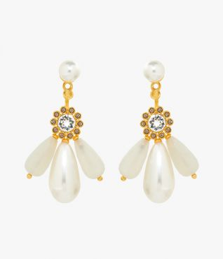 These gold-tone earrings feature light-catching grey crystals, moonstones and timelessly elegant faux pearls.