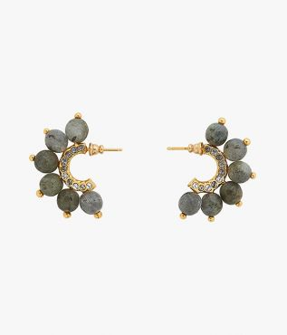 Hoop swing earrings in grey and gold tones from Erdem.