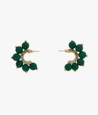 Erdem hoop earrings and adorned with a selection of light-catching crystals and green agate stones.