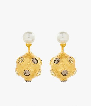 These earrings combine crystal-embellished gold-tone bows with glistening faux pearls.