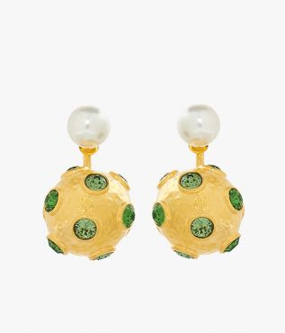 This season's green crystal-embellished bauble earrings is detailed with glistening faux pearls.