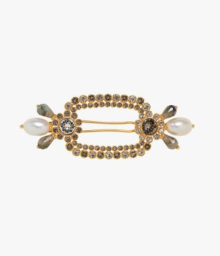 Hair barrette in a grey and gold-tone embellished with crystals, faux pearls and labradorite stones.