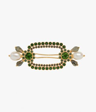 Erdem hair barrette crafted from gold-tone brass and encrusted with green crystals, faux pearls and grey labradorite stones.