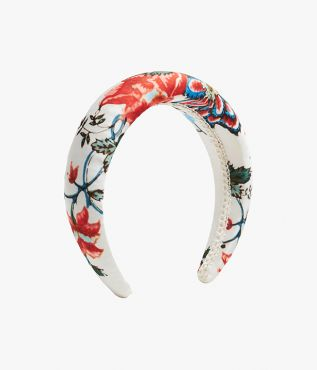 Padded headband in white Cadogan Graphic Bloom print.