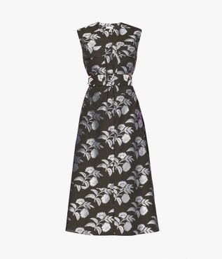 A utilitarian silhouette with bold florals, the Aldred Dress balances sharp lines with soft femininity.