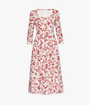 The Awellah Dress is cut from soft white linen and is stamped with the romantic Romney Floral in red.