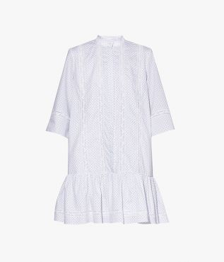 Bertram Dress in white ditsy cotton poplin from Erdem SS21.