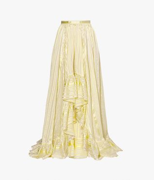 Ethelwyn long-length skirt with a high-rise waist and a dramatic ruffled hem.