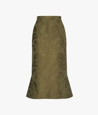 In a military-inspired olive hue, the Felton Skirt from Erdem is cut from structured cotton jacquard.