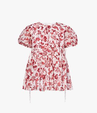 Lilwen Top Romney Floral Cotton Silk Voile Red and white